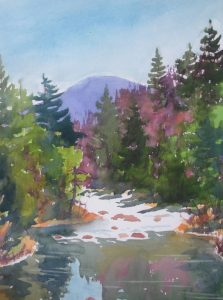"""Adirondacks 2"" watercolor by WNC artist Polly Gott"