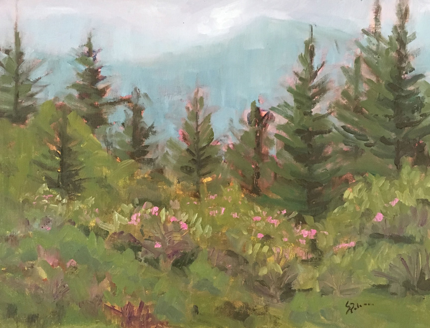 "SOLD ""Almost Heaven"" 14x18"" oil painting by Asheville artist Sue Dolamore"