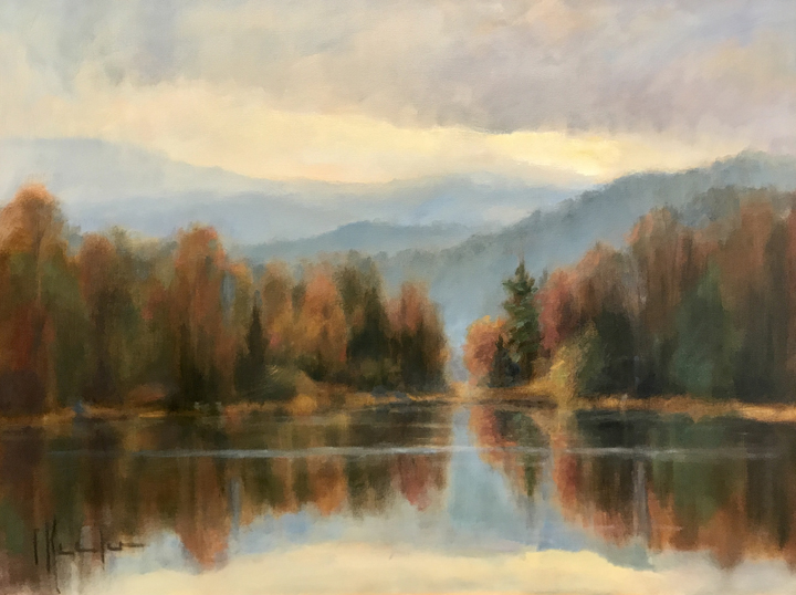 """Autumn Stillness"" 36x48"" original oil painting by Asheville artist Cheryl Keefer"