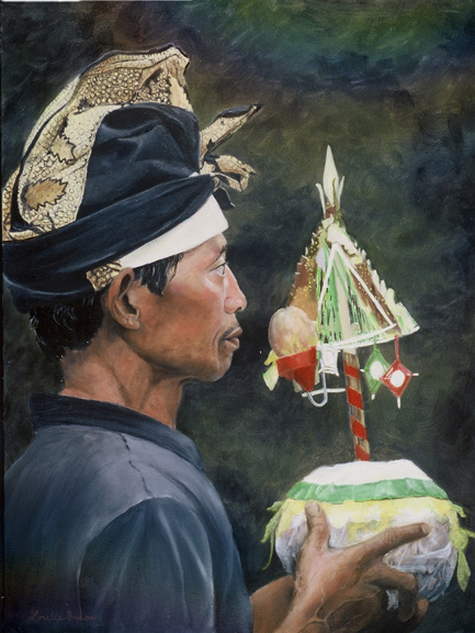 Bali - The Offering by Asheville area artist Lorelle Bacon, original oil painting