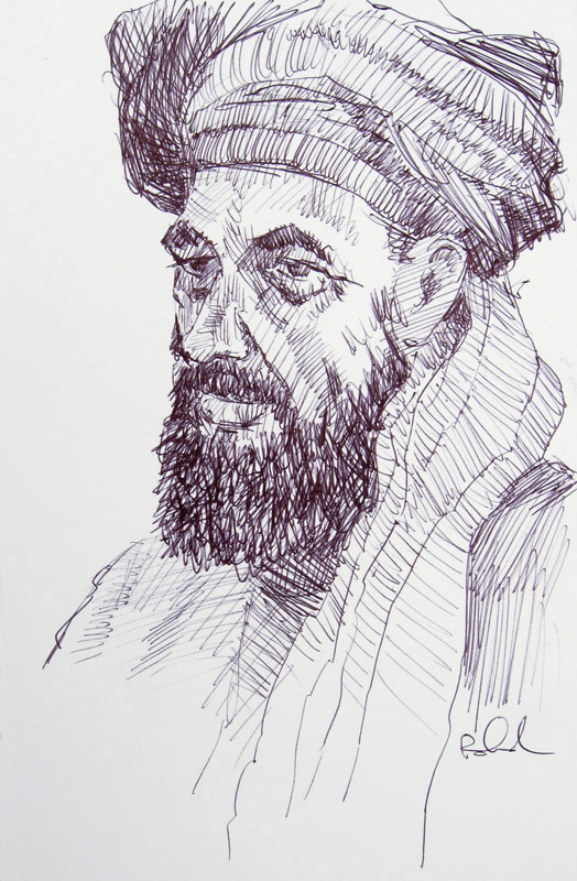"""Bazaar Merchant"" 8x5x5"" ink drawing by Asheville figurative artist Skip Rohde, Smithsonian Museum of American History"