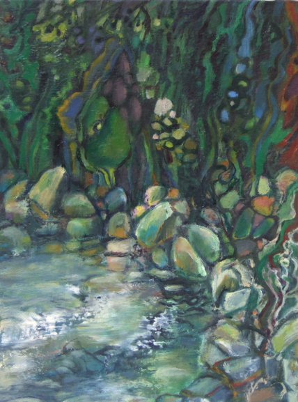 """Black Mountain Spring"" oil painting by Asheville area artist Dixie Damron"