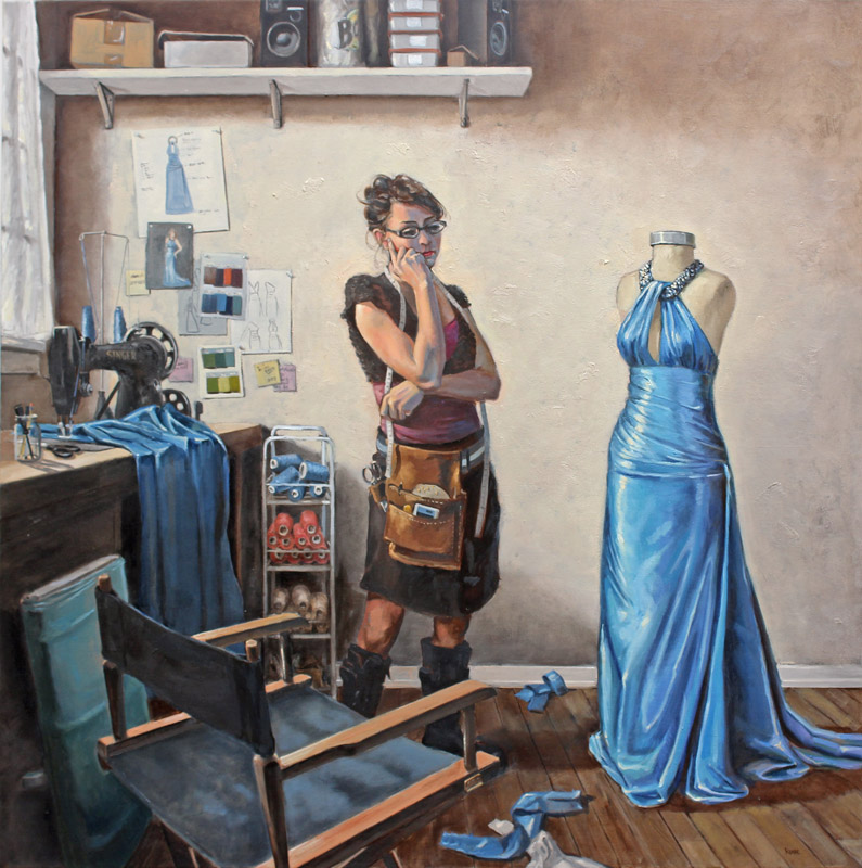 """Cinderella's Seamstress"" 48x48"" oil on canvas by Asheville figurative artist Skip Rohde"