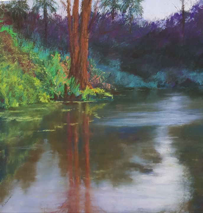 """Cypress Swamp at Dusk"" 13x13"" pastel painting by Asheville artist Karen Chambers, available for $185, contact karenpaints@hotmail.com or meredith@localhearted.com for purchase"