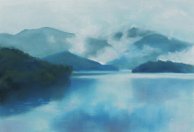 "Asheville artist Elise Okrend pastel painting ""Reflection"""