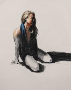 """Emma7"" 22x18"" Charcoal and pastel on paper by Asheville figurative artist Skip Rohde, available for $475"