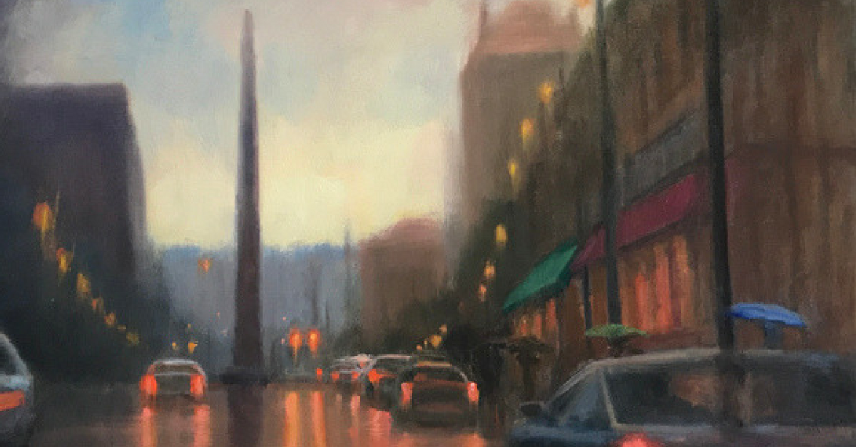 """Patton Avenue Rain"" by Asheville Artist Cheryl Keefer"