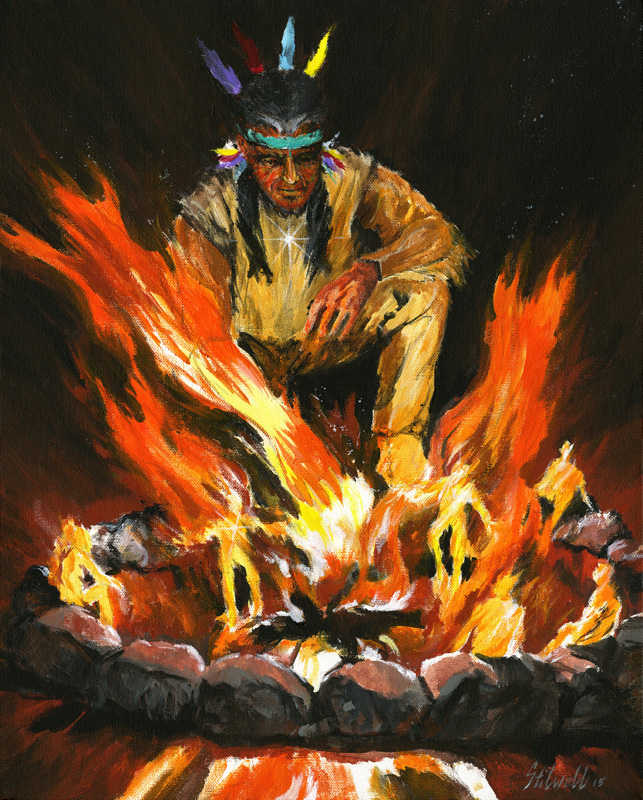 """Fire Dance"" acrylic painting by Asheville area artist Jim Stilwell"