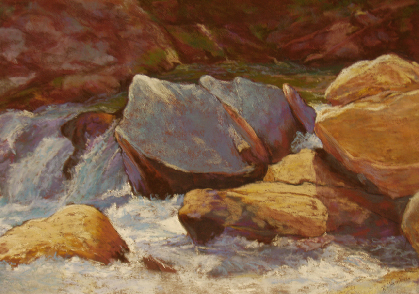 """Flat Creek II"" pastel painting by Asheville artist Karen Chambers"