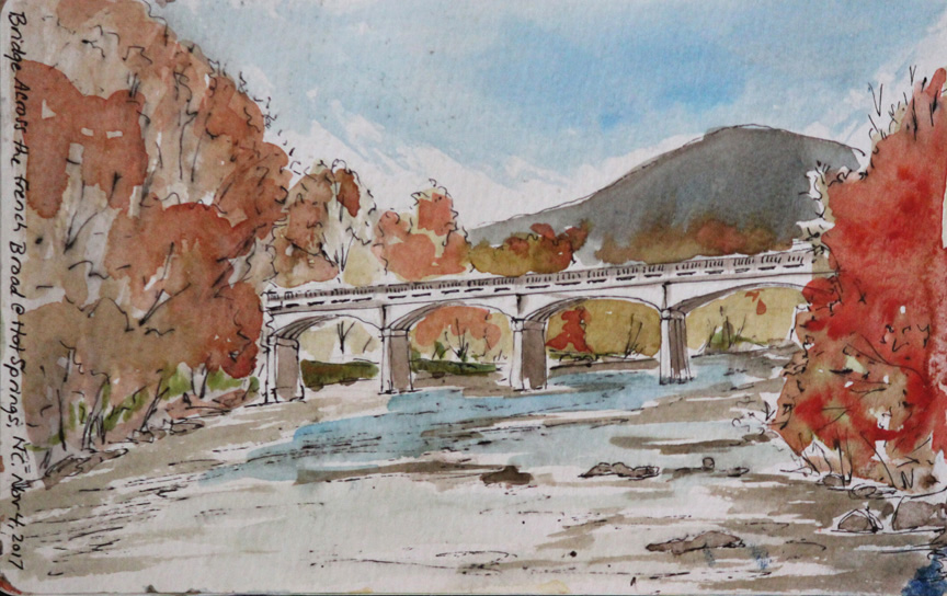 """French Broad River Bridge at Hot Springs"", watercolor painting from sketchbook of Asheville artist Sue Dolamore"