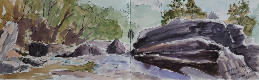 """Graveyard Fields Falls East"" watercolor painting from sketchbook of Asheville artist Sue Dolamore"