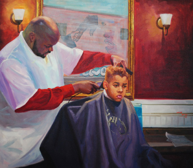 """Grooming the Future"" oil painting by Asheville artist Joseph Pearson"
