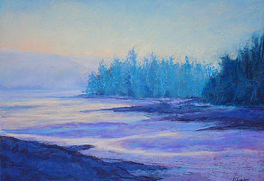 """Fog Comes in on Little Gray Cat Feet, Sandburg"" pastel painting by Asheville artist Karen Chambers"