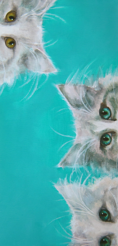 Kitties on the Edge - original oil painting by WNC artist Kat Turczyn