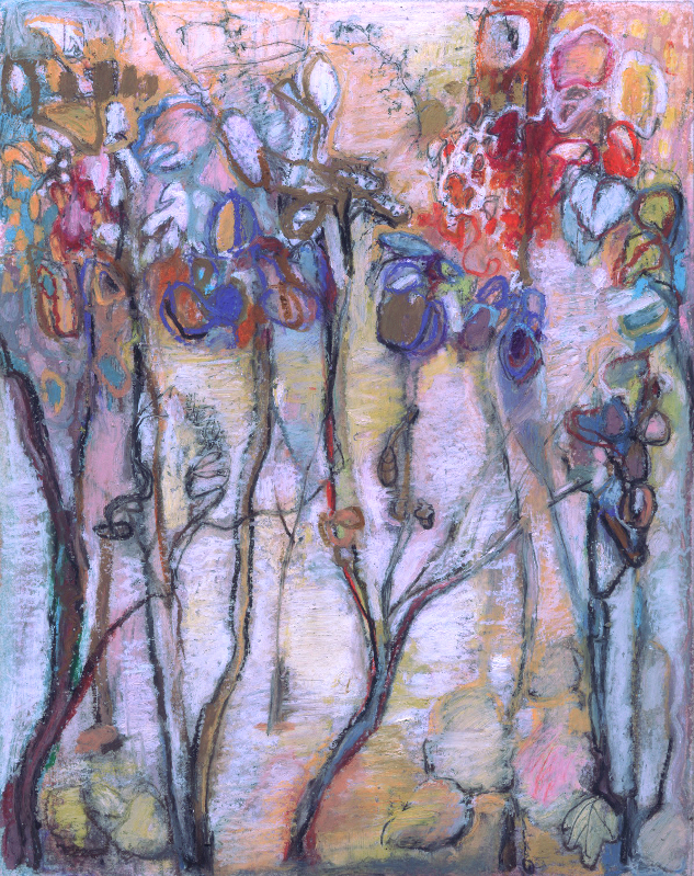 """Last Fall"" oil pastel and pencil by WNC artist Dixie Damron"
