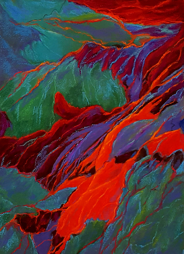 """Lava Flow"" 18x13 pastel painting by Asheville artist Karen Chambers"