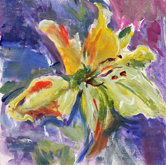 Lily oil painting by Asheville area artist Mary Filiss