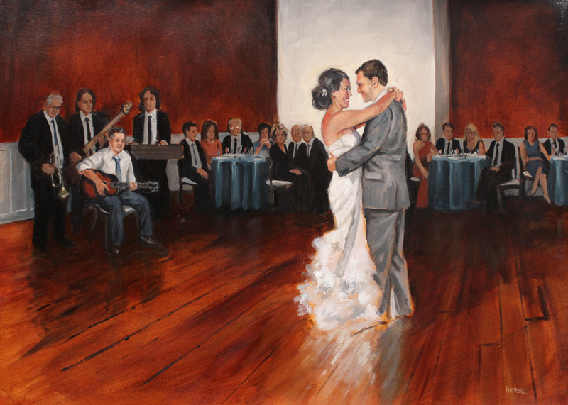 "Logan and Jen 22x30"" oil on paper, live wedding painting, by Asheville figurative artist Skip Rohde"