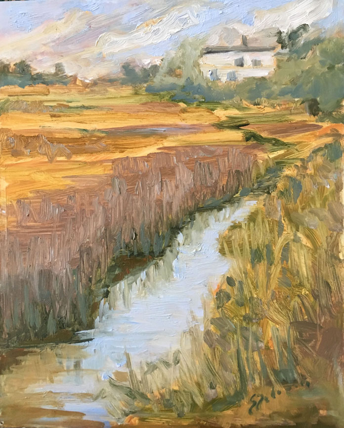 "SOLD ""Marsh House"" 8x10"" oil painting by Asheville artist Sue Dolamore"