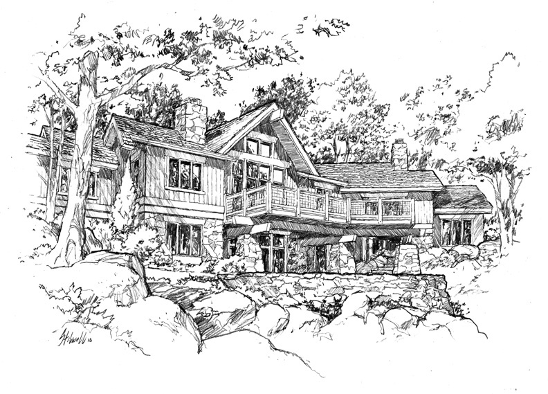 """Mountain House"" architectural drawing by Asheville area artist Jim Stilwell"