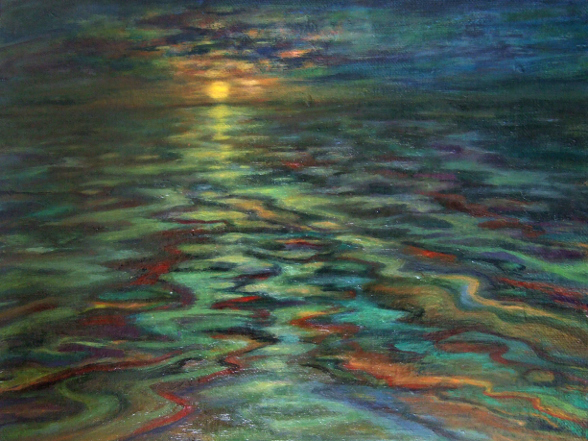 """No Swimming"" oil painting by Asheville area artist Dixie Damron"
