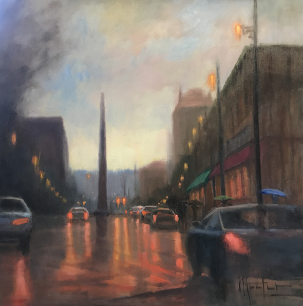 """Patton Avenue Rain"" 36x36"" original oil painting by Asheville Artist Cheryl Keefer"