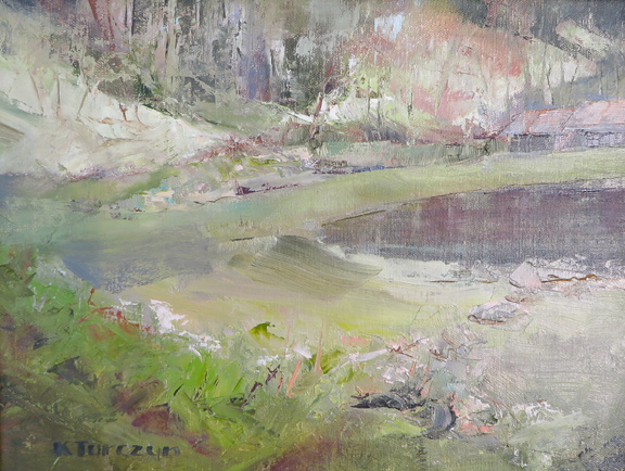 Reflecting Pool, original oil painting by WNC artist Kat Turczyn