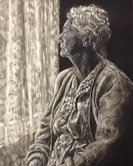 """Reminiscing"" by Asheville area artist Lorelle Bacon, Scratchboard"