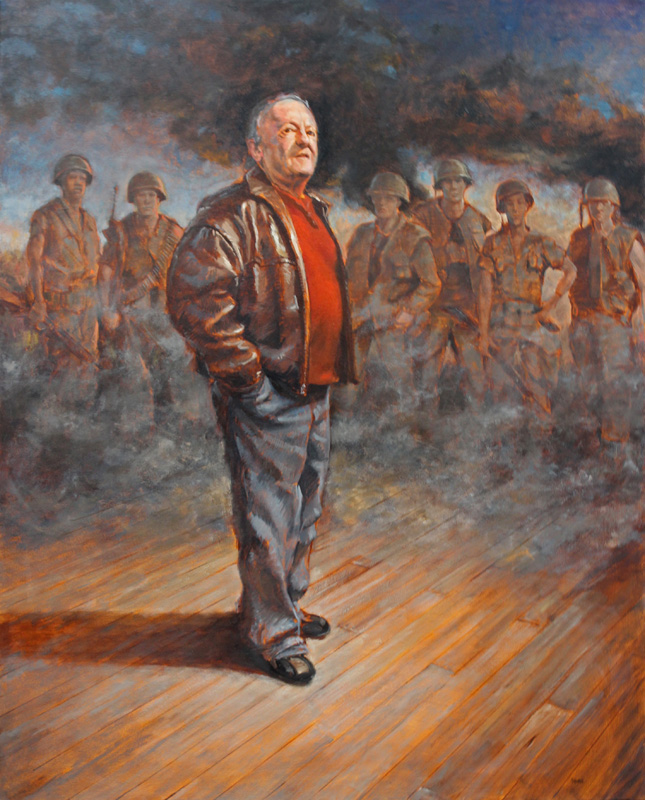 """Saddle Up"" 50x40 oil painting by Asheville figurative artist Skip Rohde"