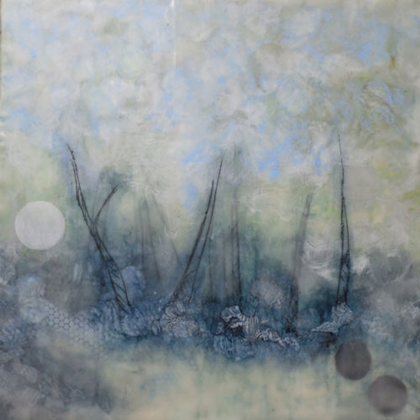 Smoky Grove original encaustic painting by Asheville artist Fleta Monaghan
