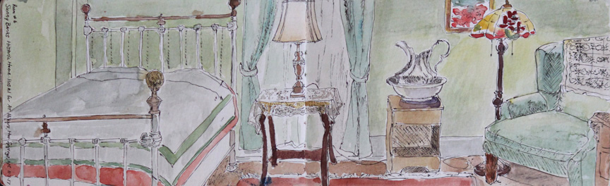 """Sunny Bank Inn, Room 6, Hot Springs"", watercolor painting from sketchbook of Asheville artist Sue Dolamore"