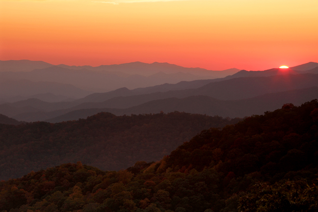 """Sunset from Blue Ridge Parkway"" photo by Asheville artist photographer Tim Barnwell"