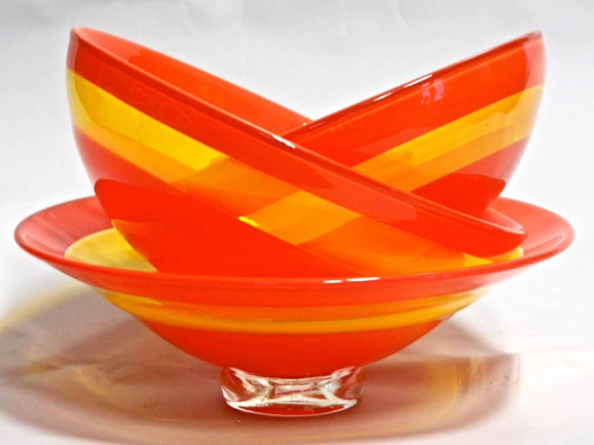 """Sunshine Bowls"" by Asheville area artist glassblower Michael Hatch, Crucible Glassworks"