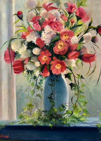 """Flowers in the Window"" by Asheville artist Susan Sinyai"