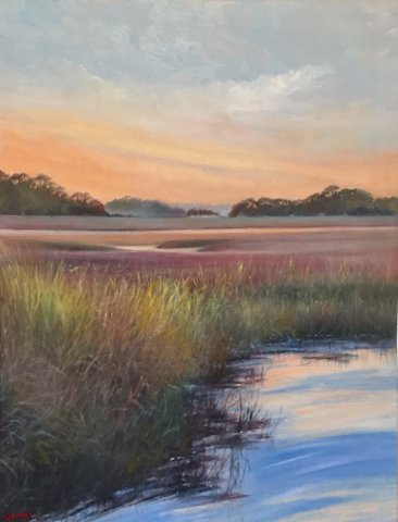 """Gloaming on the Marsh"" by Asheville artist Susan Sinyai"