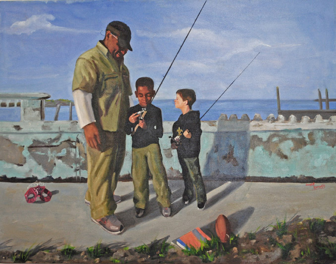 """Teach them to Fish"" oil painting by Asheville artist Joesph Pearson"