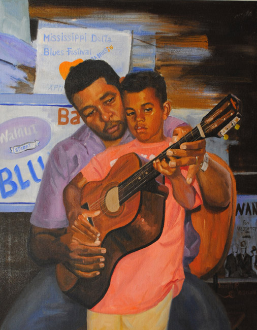 """The Guitar Lesson"" original oil painting by Asheville artist Joseph Pearson"