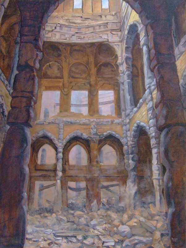 The Library, Sarajevo 40x30 oil painting by Asheville artist Skip Rohde