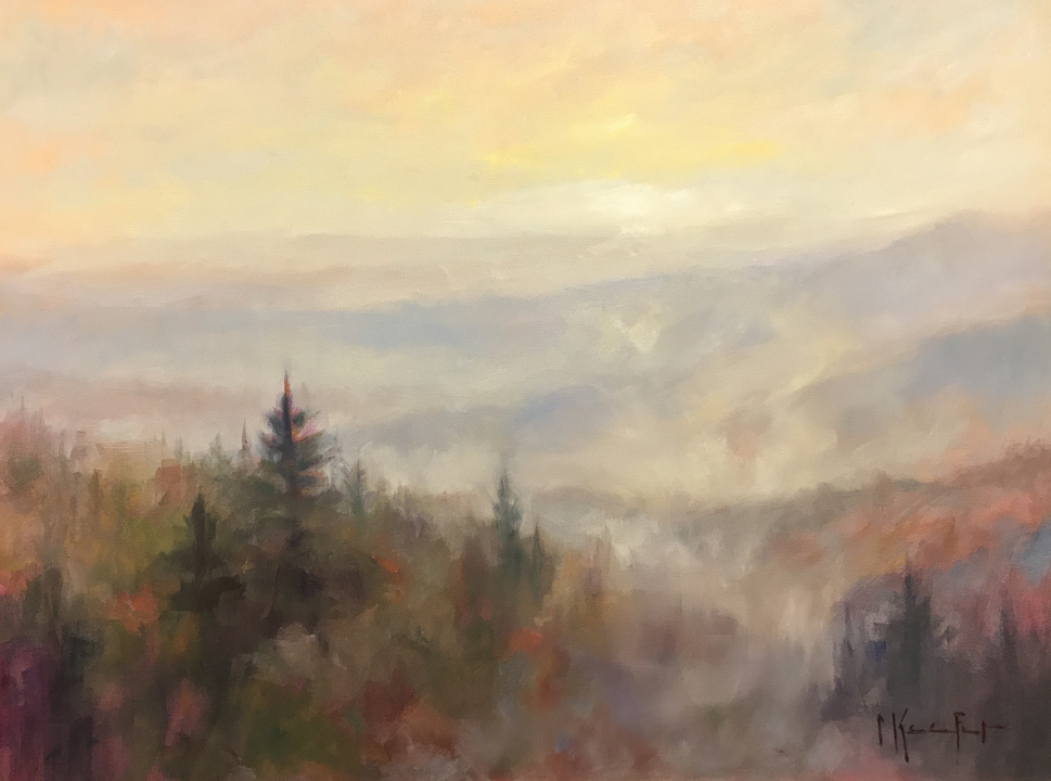 """The Mountains are Calling"" 40x30"" original oil painting by Asheville artist Cheryl Keefer"