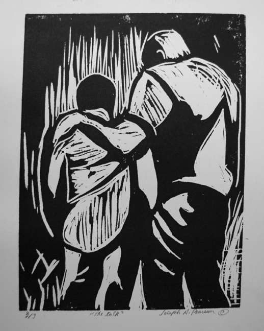 """The Talk"" linocut by Ashevlle artist Joseph Pearson"