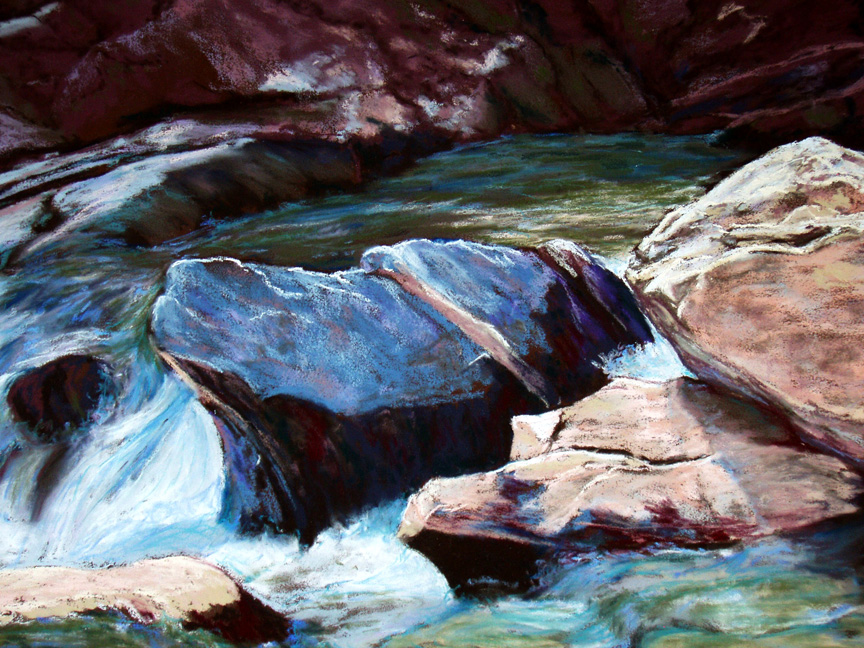 """Rushing Waters II"" pastel painting by Asheville artist Karen Chambers"