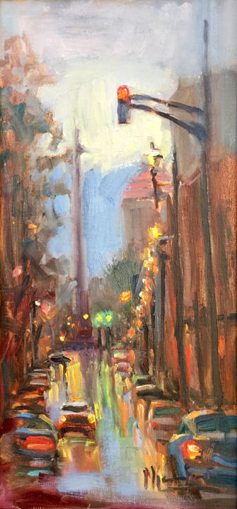 """Twilight through Rain,"" 12x4.5"" original oil painting by Asheville artist Cheryl Keefer"