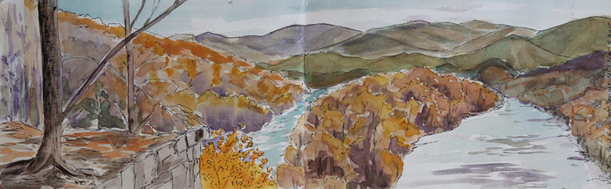 """View from Paint Rock in Hot Springs"", watercolor painting from sketchbook of Asheville artist Sue Dolamore"