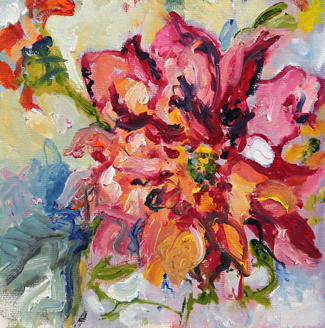 Zinnia oil painting by Asheville area artist Mary Filiss