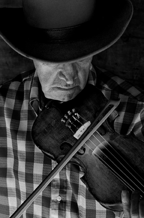 """Byard Ray playing fiddle"" photo by Tim Barnwell"